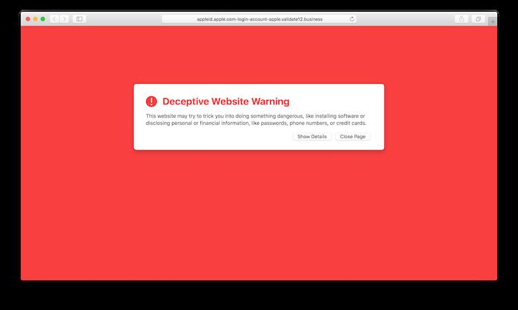 Safari Deceptive Website Warning