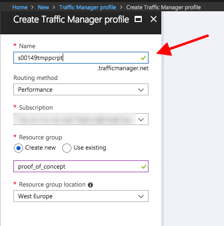 Traffic Manager profile creation