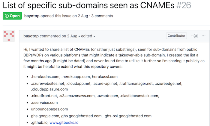 List of subdomain takeover domains